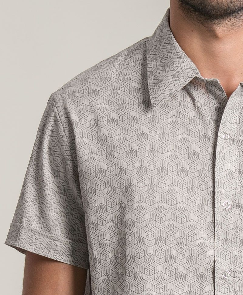 Kubic Button Shirt ➟ Light Grey