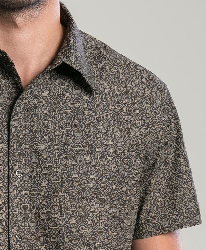 Shipibo Kené Button Shirt ➟ Black