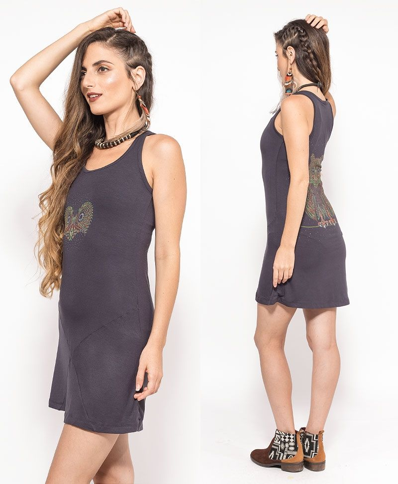 Uhloo Tunic Dress ➟ Black / Grey / Green
