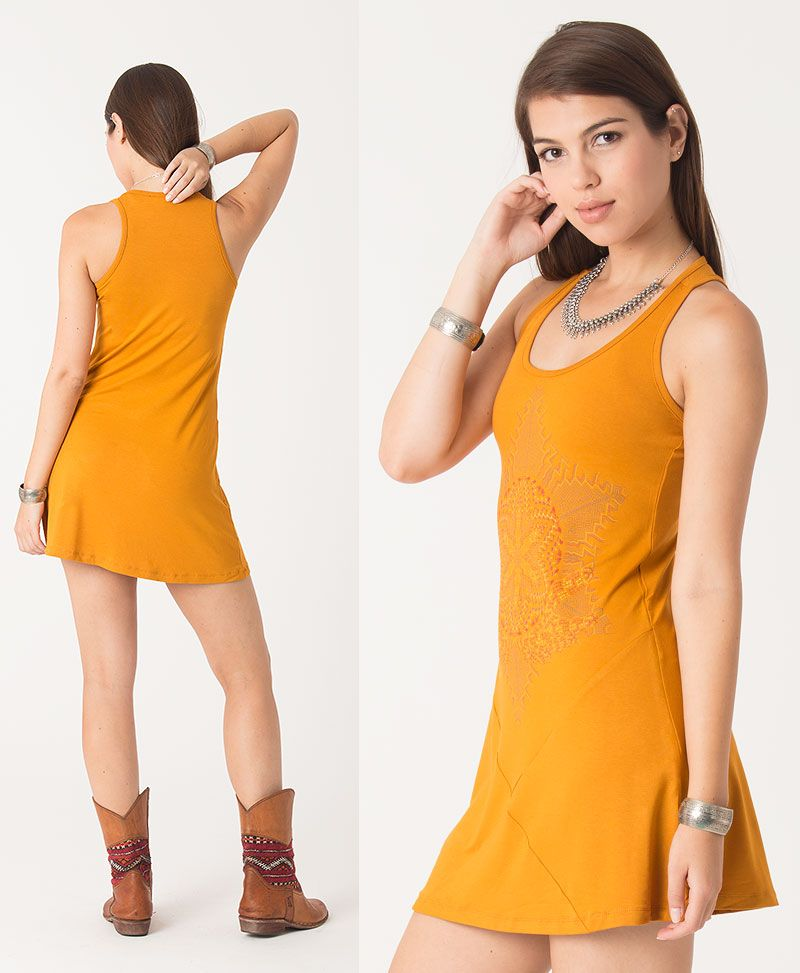 Anahata Tunic Dress ➟ Brown / Stone / Mustard