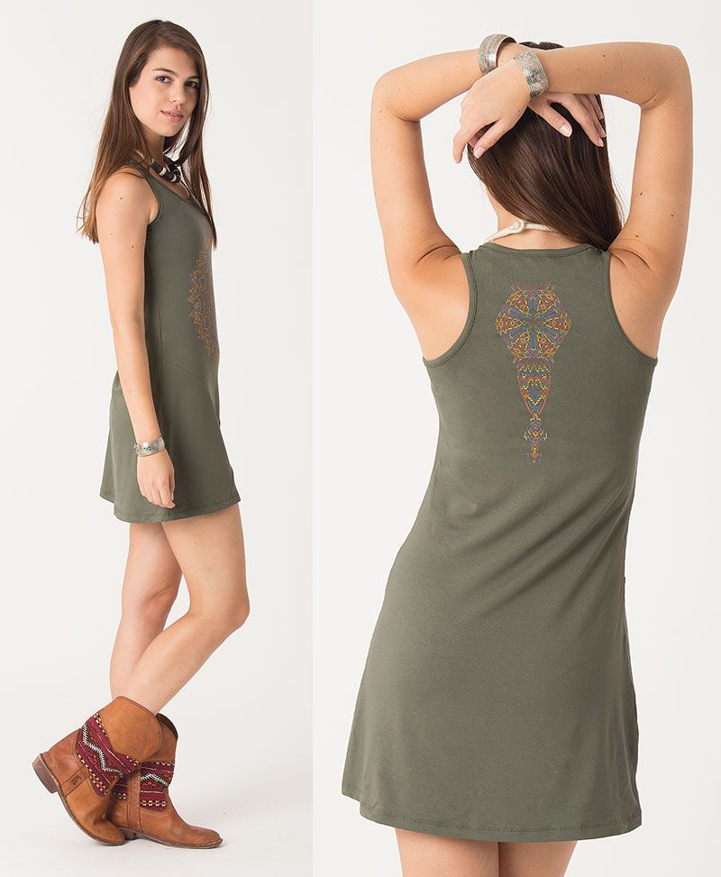 Mexica Tunic Dress ➟ Black / Grey / Green