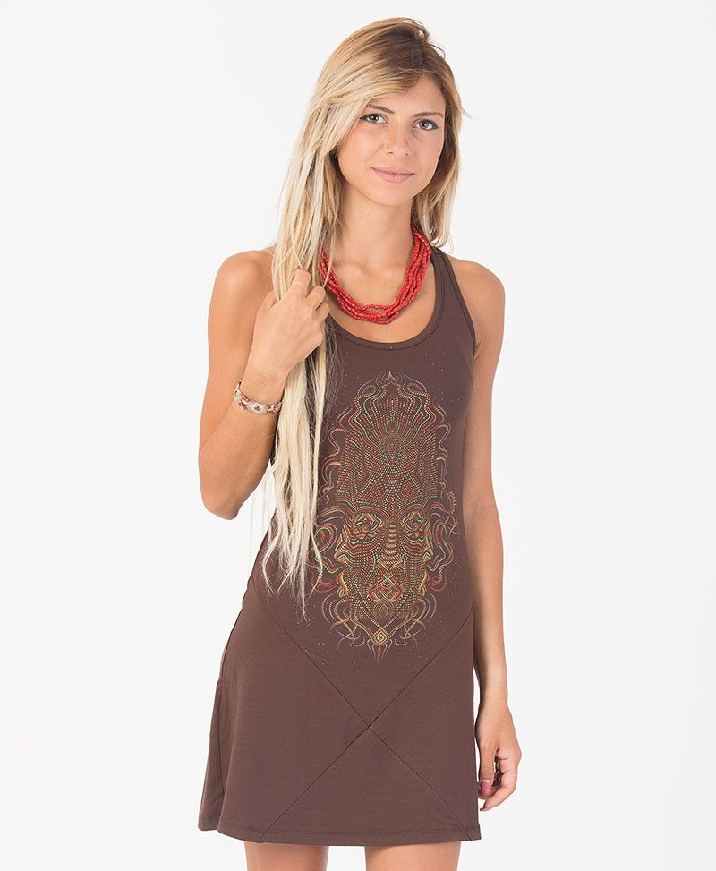 TriMurti Tunic Dress ➟ Brown / Stone / Mustard