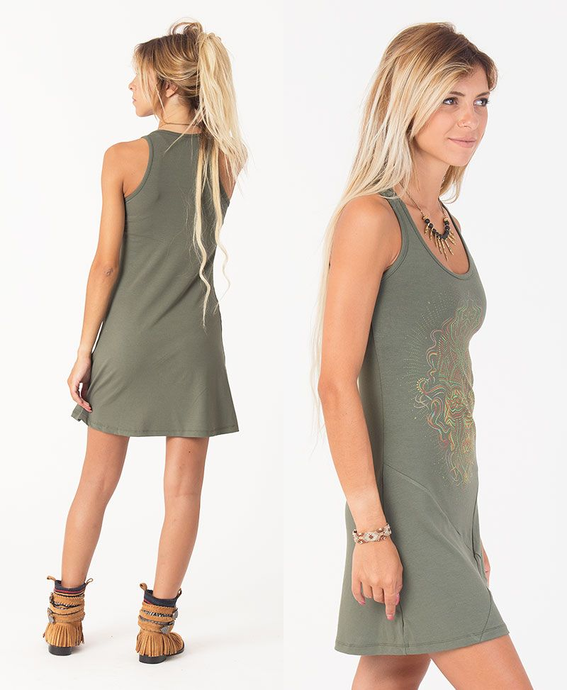 TriMurti Tunic Dress ➟ Black / Grey / Green