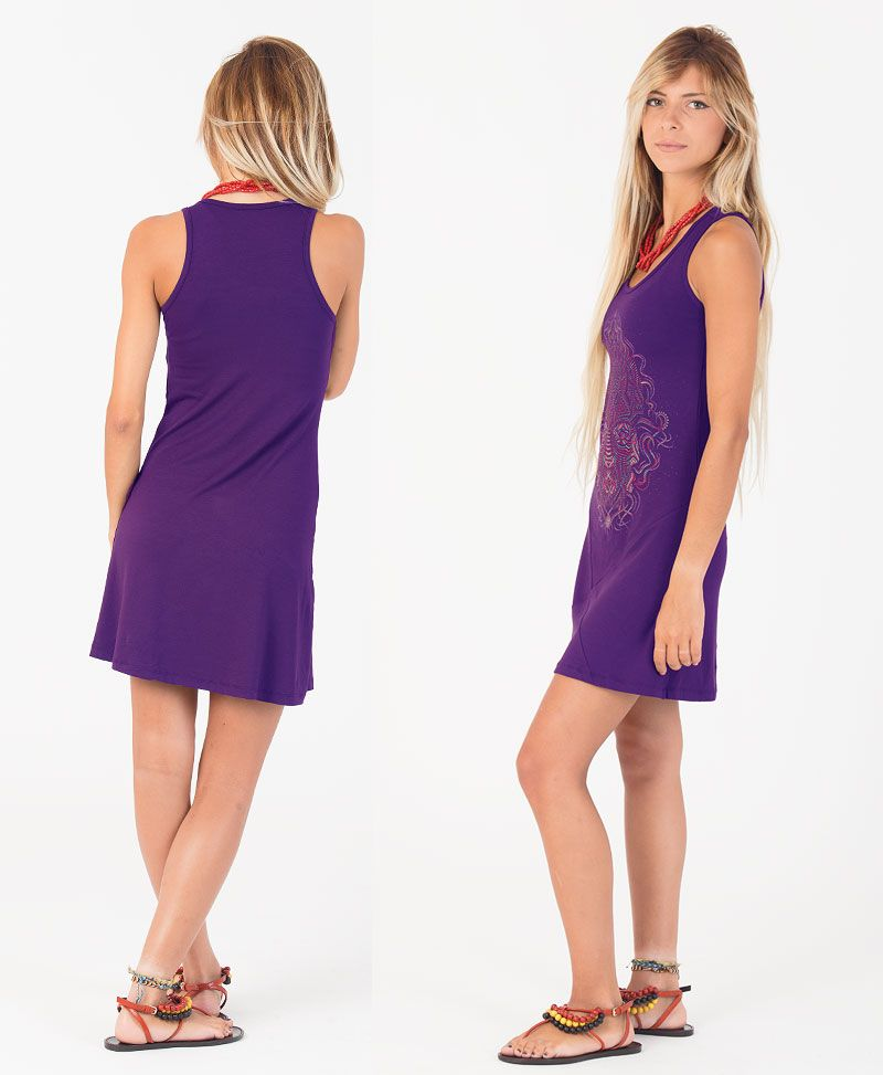 TriMurti Tunic Dress ➟ Purple / Blue / Red
