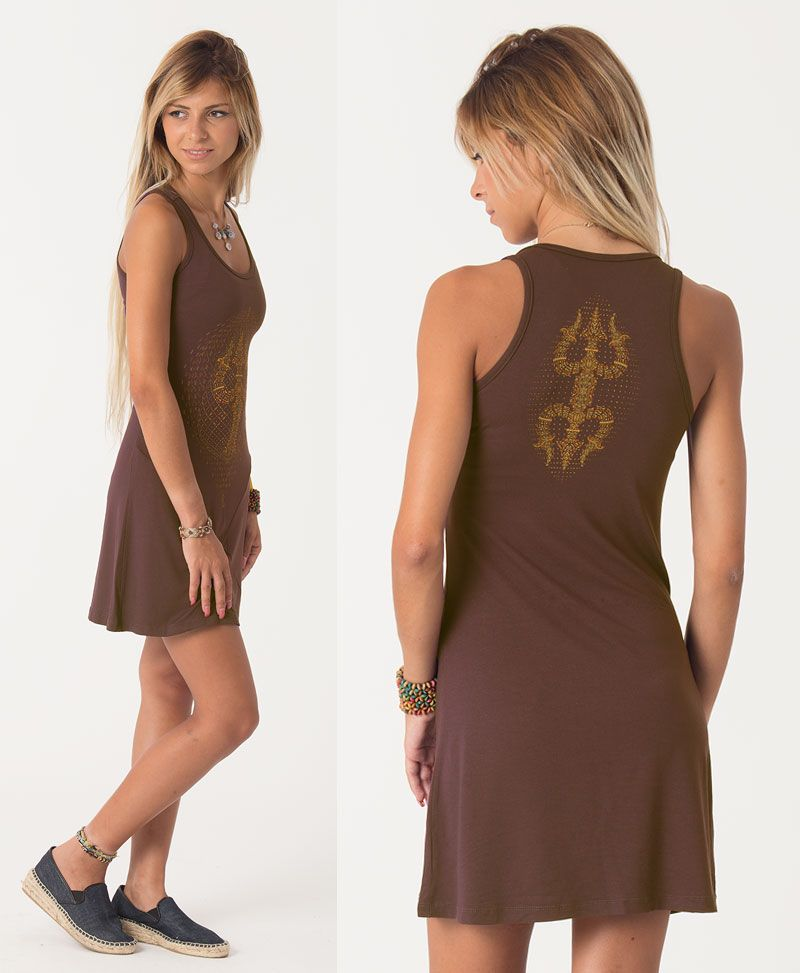 Trishula Tunic Dress ➟ Brown