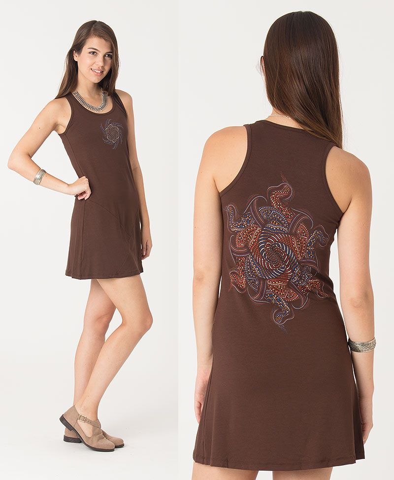 Vortex Tunic Dress ➟ Brown / Stone / Mustard