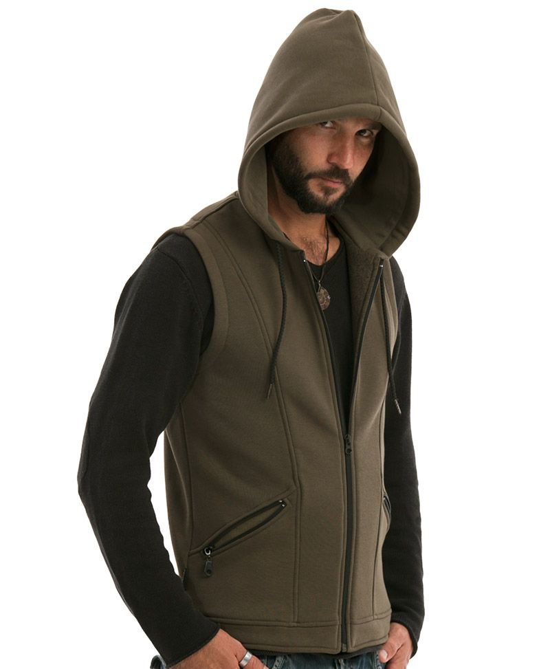 Uhloo Hooded-Vest ➟ Olive