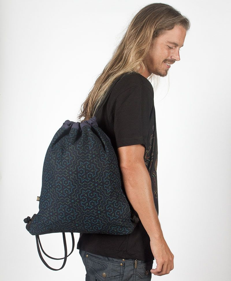 Seeds Drawstring Backpack ➟ Black & Blue