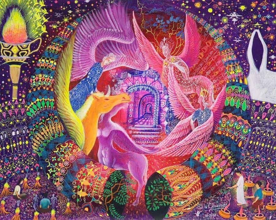 psychedelic-shirt-trance-festival-clothing-sol-seed-of-life-Unicornio-Dorado-Painting-by-Pablo-Amaringo